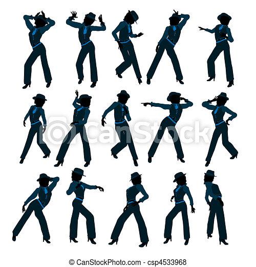African American Female Jazz Dancer Silhouette - csp4533968