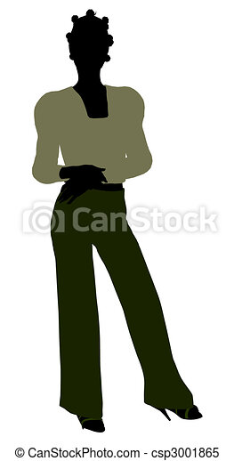 African American Female Office Illustration Silhouette - csp3001865