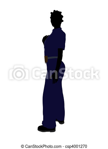 African American Female Police Officer Art Illustration Silhouette - csp4001270