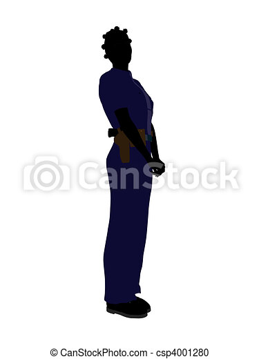 African American Female Police Officer Art Illustration Silhouette - csp4001280