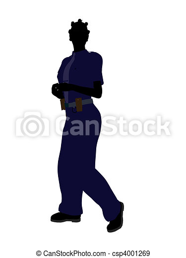 African American Female Police Officer Art Illustration Silhouette - csp4001269
