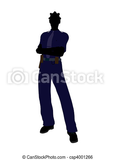 African American Female Police Officer Art Illustration Silhouette - csp4001266