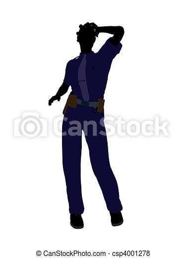 African American Female Police Officer Art Illustration Silhouette - csp4001278