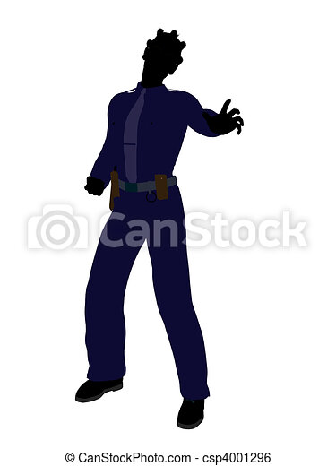 African American Female Police Officer Art Illustration Silhouette - csp4001296