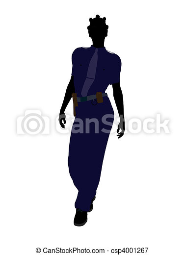 African American Female Police Officer Art Illustration Silhouette - csp4001267