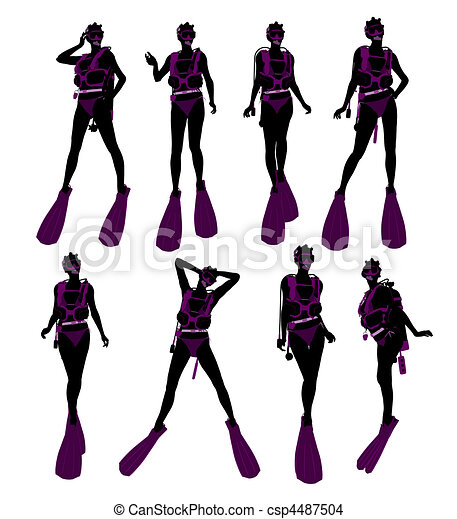 African American Female Scuba Diver Illustration Silhouette - csp4487504