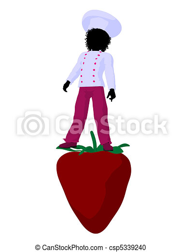 African American Girl Chef Silhouette Illustration - csp5339240