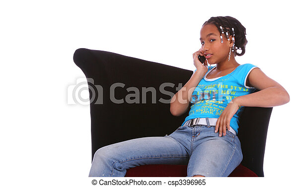 African American Girl Gossiping On The Phone - csp3396965