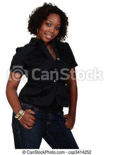 African American Girl Posing - csp3414252