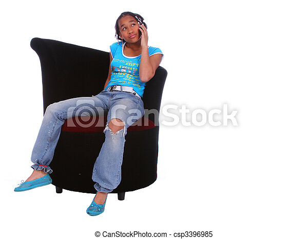 African American Girl Talking On The Phone 2 - csp3396985