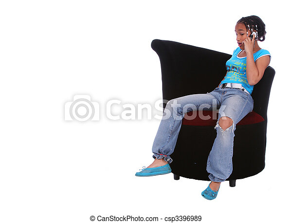 African American Girl Talking On The Phone - csp3396989