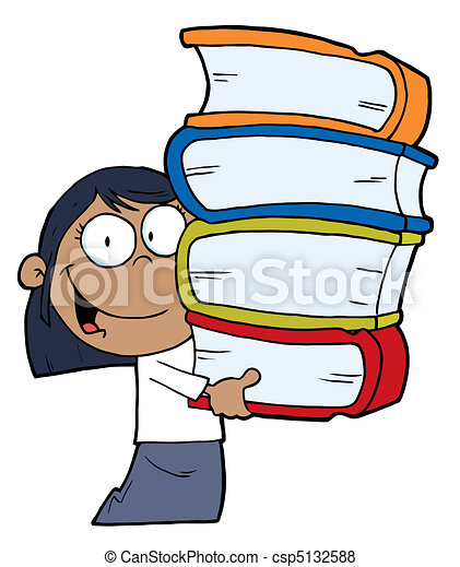African American Girl With Books  - csp5132588