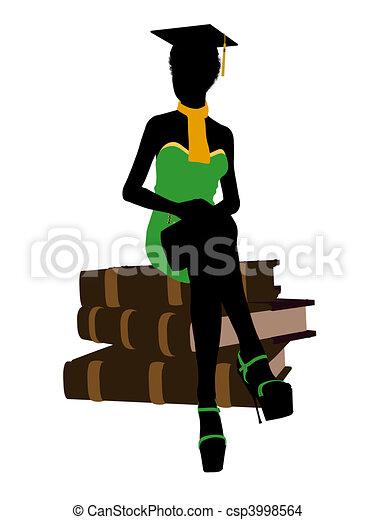 African American Graduate Illustration Silhouette - csp3998564
