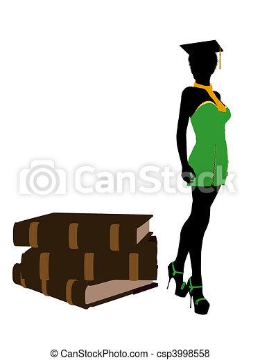 African American Graduate Illustration Silhouette - csp3998558