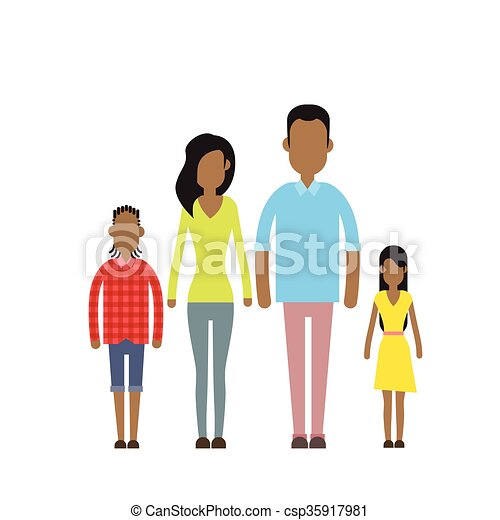 African American Happy Family Four People, Parents With Two Children - csp35917981