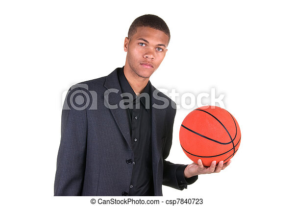 African American holding basketball - csp7840723
