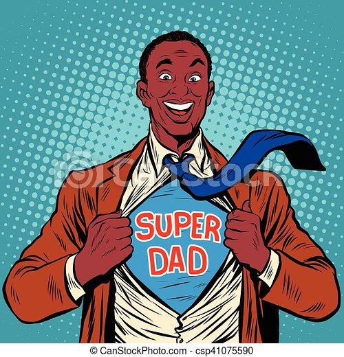 African American joyful super dad - csp41075590