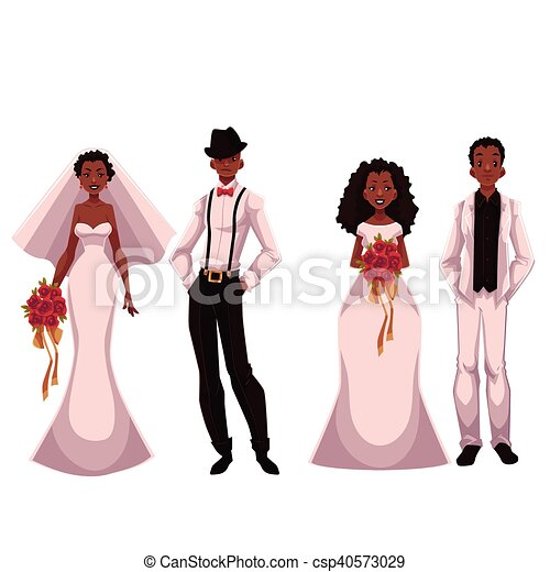 African American just married couple, set of brides and grooms - csp40573029