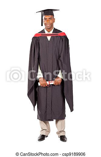 african american male graduate full length - csp9189906