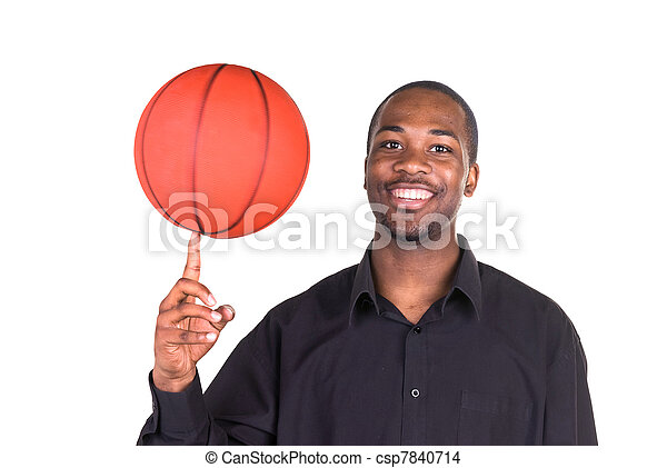 African American Man and basketball - csp7840714