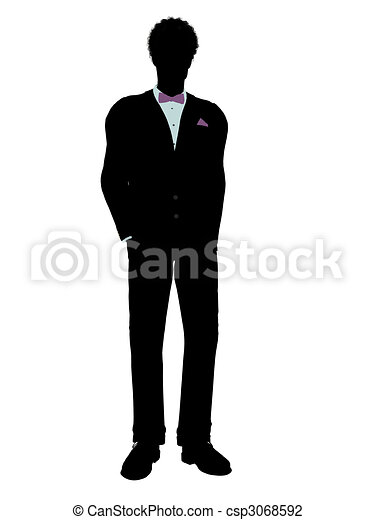African American Man in a Tuxedo Silhouette - csp3068592