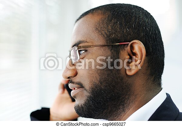 African American man on the phone - csp9665027