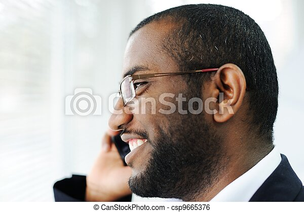 African American man on the phone - csp9665376