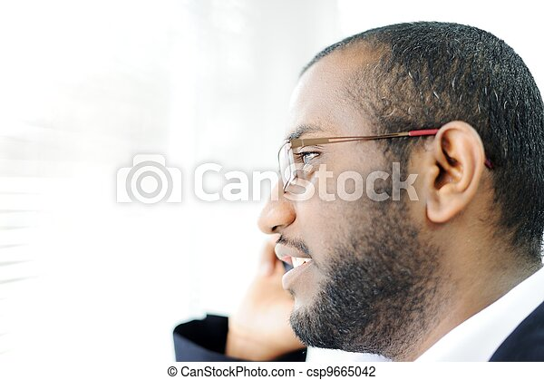 African American man on the phone - csp9665042