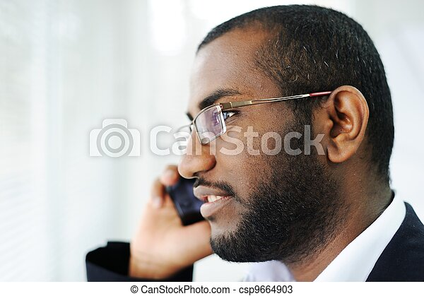 African American man on the phone - csp9664903
