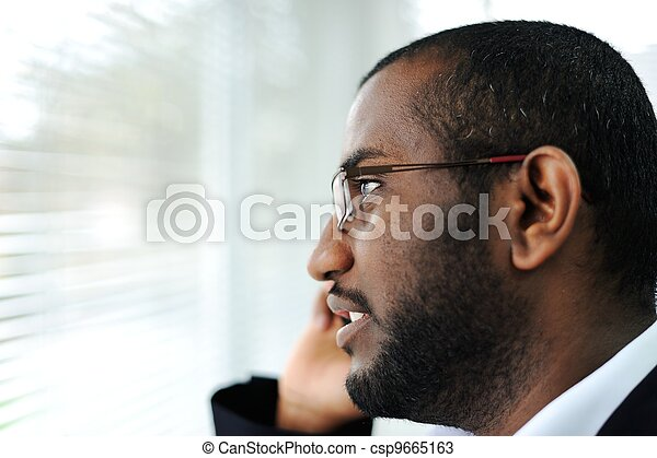 African American man on the phone - csp9665163