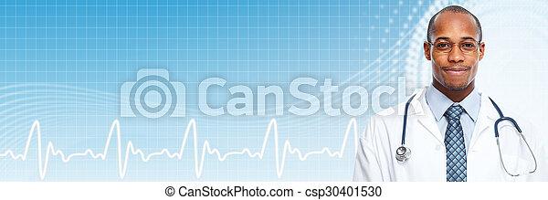 African american medical doctor man. - csp30401530