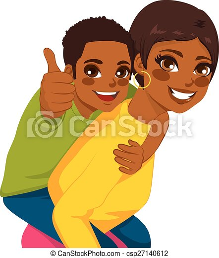 African American Mother Son Piggyback - csp27140612