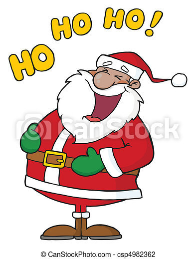 african american santa claus black santa laughing with ho ho ho text rh canstockphoto com Santa Claus Outline Template Santa Claus Face Template Printable