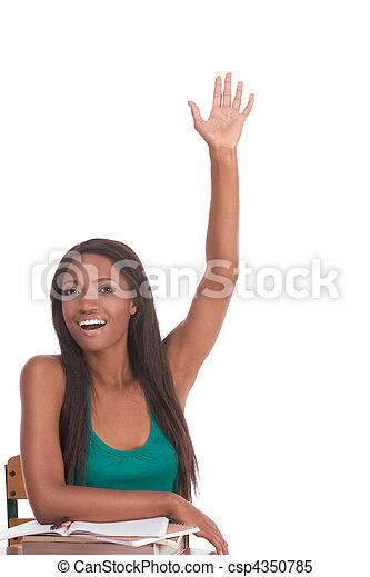 African American schoolgirl raised hand in class - csp4350785