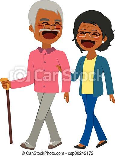 African American Senior Couple Walking - csp30242172
