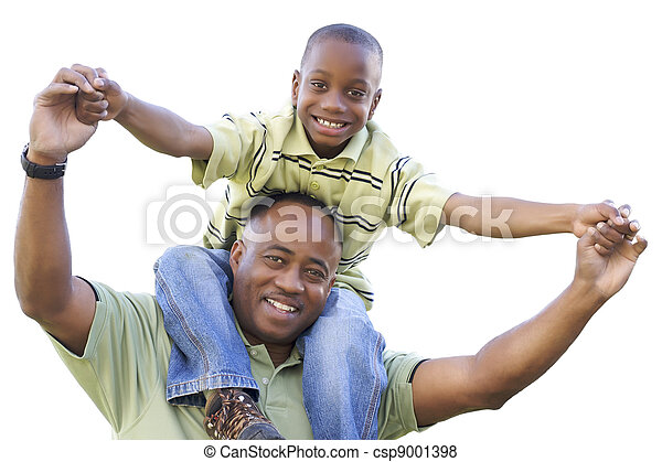 African American Son Rides Dad's Shoulders Isolated - csp9001398