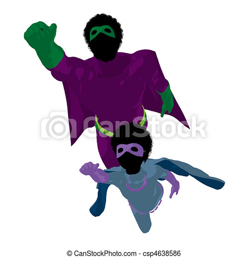 African American Super Hero Dad Illustration Silhouette - csp4638586