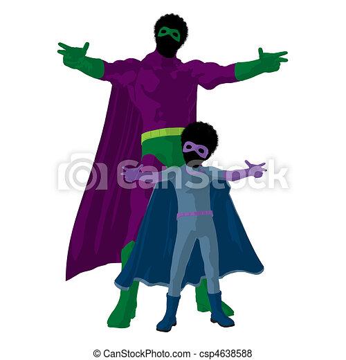 African American Super Hero Dad Illustration Silhouette - csp4638588