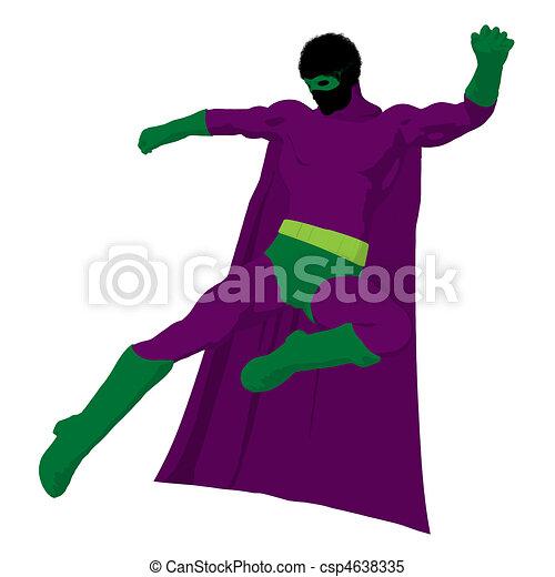 African American Super Hero Illustration Silhouette - csp4638335