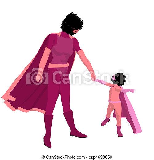 African American Super Hero Mom Illustration Silhouette - csp4638659