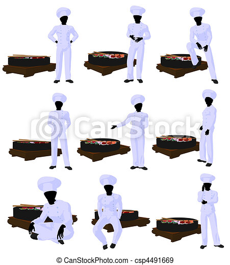 African American Sushi Chef Art Illustration Silhouette - csp4491669