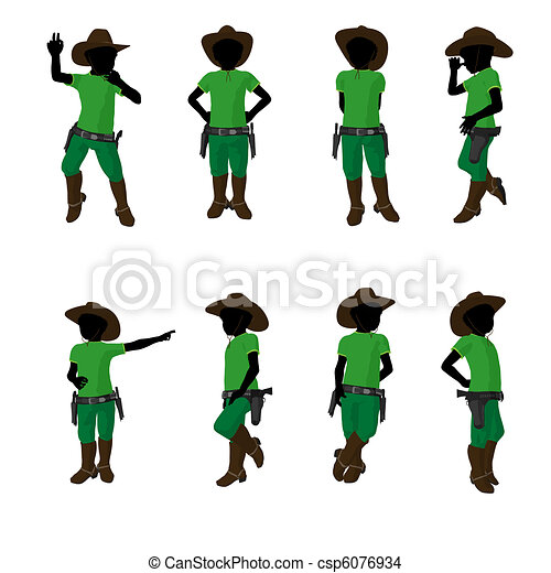 African American Teen Cowboy Illustration  - csp6076934