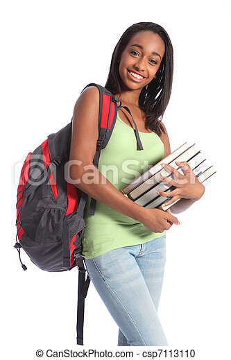 African American teenage student and school books - csp7113110