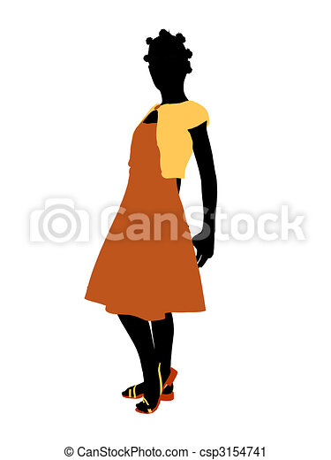 African American Teenager Illustration Silhouette - csp3154741