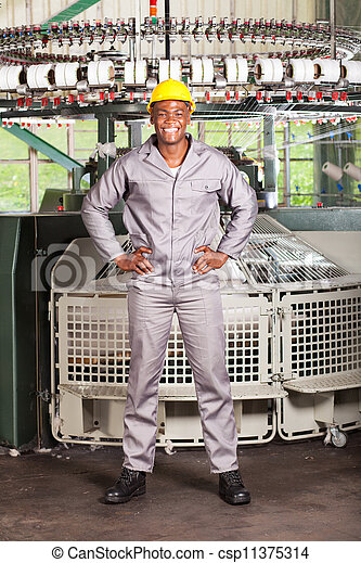 african american textile worker full length - csp11375314
