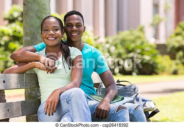 african american university couple - csp26418392