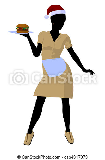 African American Waitress Illustration Silhouette - csp4317073