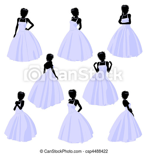 African American Wedding Bride Silhouette - csp4488422