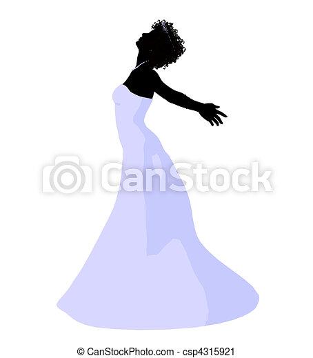 African American Wedding Bride Silhouette - csp4315921
