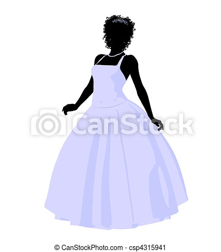 African American Wedding Bride Silhouette - csp4315941